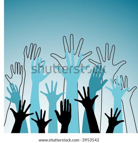 hands vector - stock vector