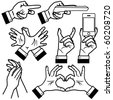 Hands vector illustration in different poses. - stock vector