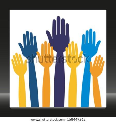 Hands volunteering or voting.  - stock vector