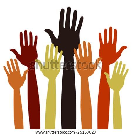 Hands volunteering or voting vector. - stock vector