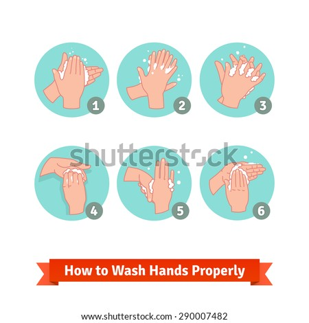 Hands washing medical instructions. Soap and bubbles. Flat vector icons. - stock vector