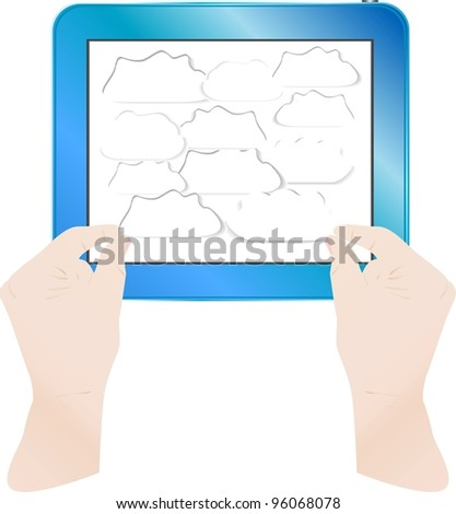 hands with bubbles on computer tablet pc - stock vector