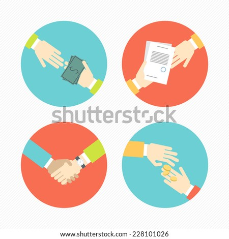 Hands with business object and icons, money, contract, partnership set flat design Vector illustration  - stock vector