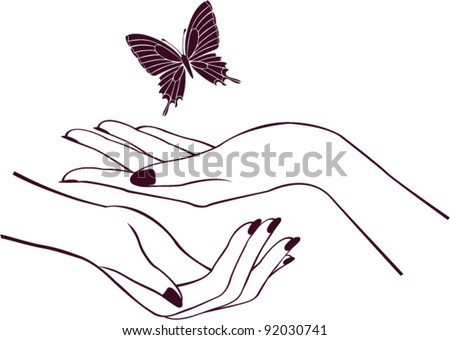 Hands with butterfly, logo design - stock vector