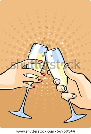 Hands with champagne - stock vector