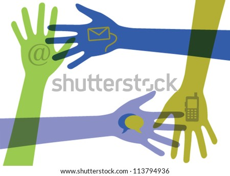 Hands with communication icons. Vector - stock vector