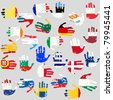 Hands with European Union countries flags - stock
