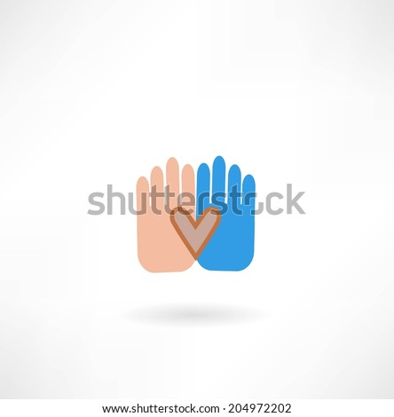hands with heart icon - stock vector