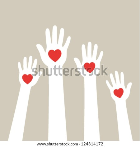 Hands with hearts. Vector illustration. - stock vector