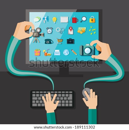 Hands with shopping and business elements isolated on colored computer monitor  - stock vector