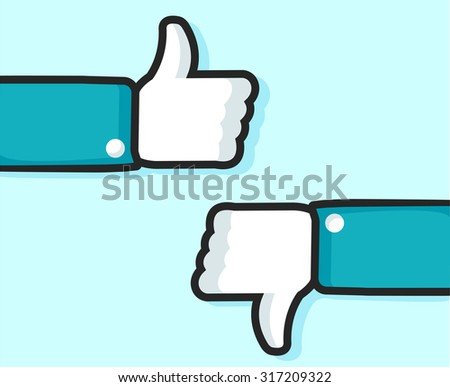 Hands with thumbs up and down. Like and dislike symbols - stock vector