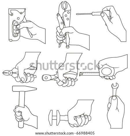 hands with tools icons - stock vector