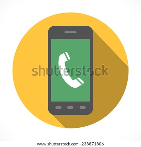 Handset sign in smartphone Icon Symbol. Flat Design collection. Vector illustration - stock vector