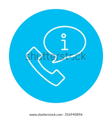 Handset with information sign line icon for web, mobile and infographics. Vector white icon on the light blue circle isolated on white background. - stock vector