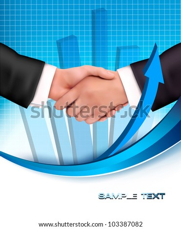 Handshake between business people with a graph in the background. Vector - stock vector