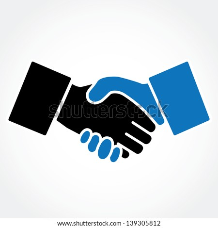 Handshake blue (shaking hands) - stock vector
