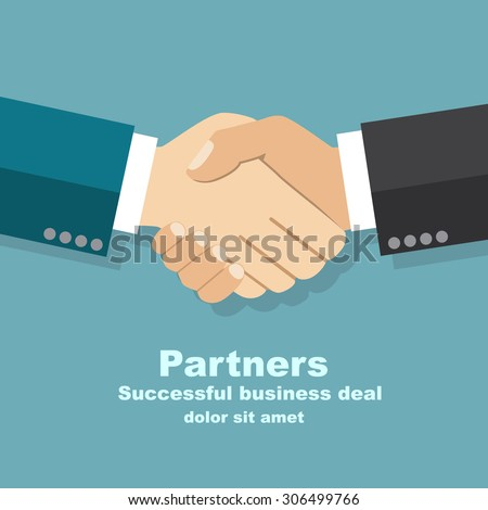 handshake businessman agreement. Vector illustration flat style. shaking hands. symbol of a successful transaction - stock vector