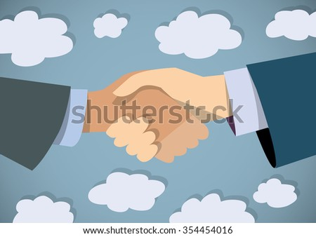 Handshake businessman hand color flat and sky. Two persons in suit shaking hands. Color vector illustration. EPS8 - stock vector