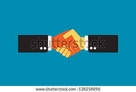 Handshake, businessmen making a deal - stock vector