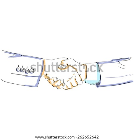 Handshake color sketch vector silhouette business hands shake isolated over white background vector illustration - stock vector