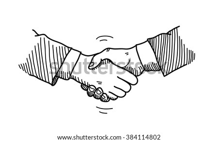 Handshake Doodle, a hand drawn vector doodle illustration of hands shaking to a mutual agreement in a business partnership. - stock vector