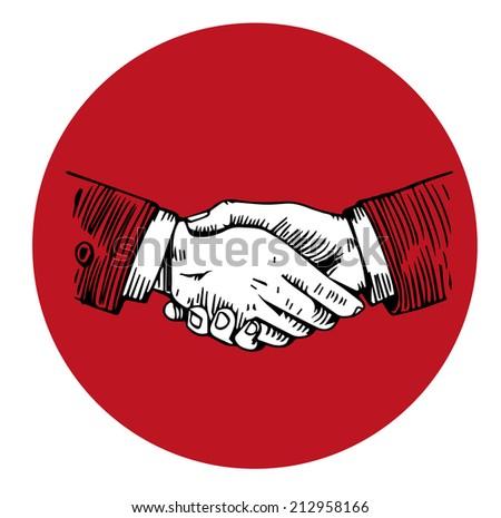 Handshake engraving in red circle - stock vector