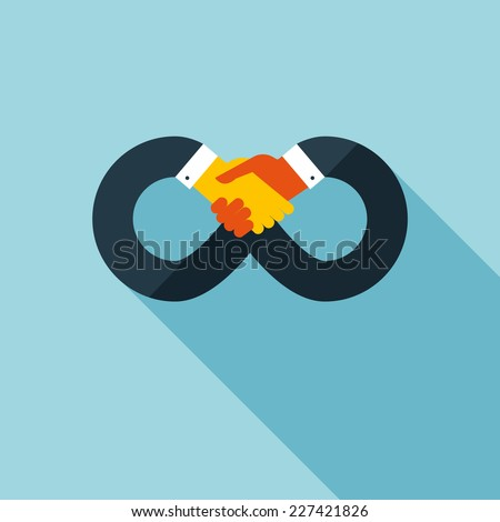 Handshake icon. concept illustration with long shadow effect in stylish colors of web design. - stock vector