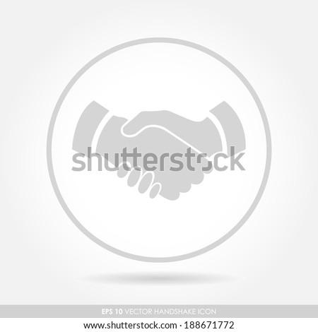 Handshake icon in circle - light version - stock vector