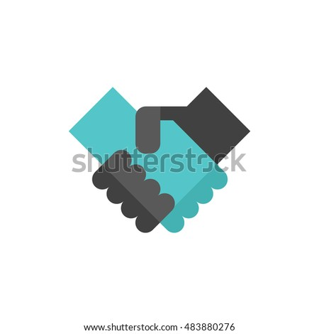 Handshake icon in flat color style. Business people agreement