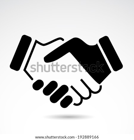 Handshake icon isolated on white background.  VECTOR illustration. - stock vector