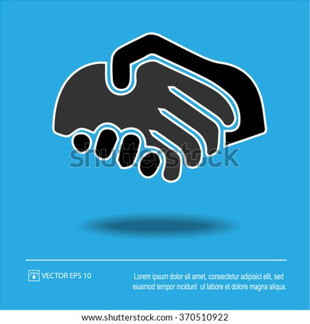 Handshake icon on blue background. Business Handshake symbol. Isolated vector illustration EPS 10.
