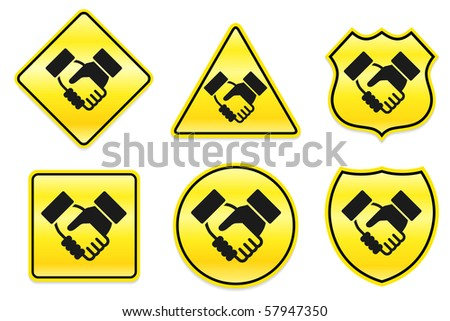 Handshake Icon on Yellow Designs Original Illustration - stock vector