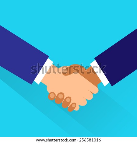 Handshake icon vector business hands shake flat design vector illustration - stock vector
