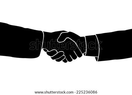 Handshake icon vector silhouette black business hands shake over white background - stock vector