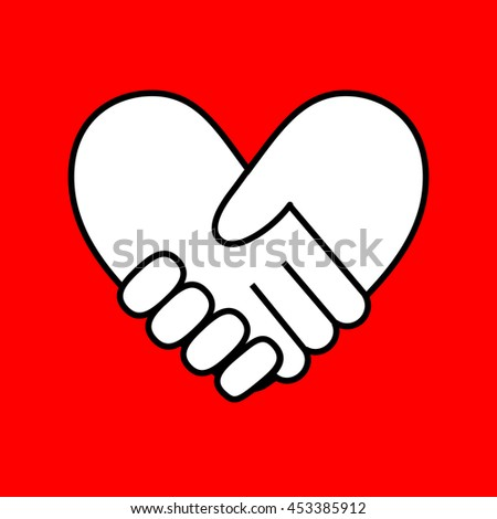 Handshake in form of heart on red background.Vector illustration