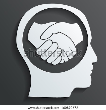 handshake in the head vector - stock vector