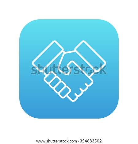 Handshake line icon for web, mobile and infographics. Vector white icon on the blue gradient square with rounded corners isolated on white background. - stock vector