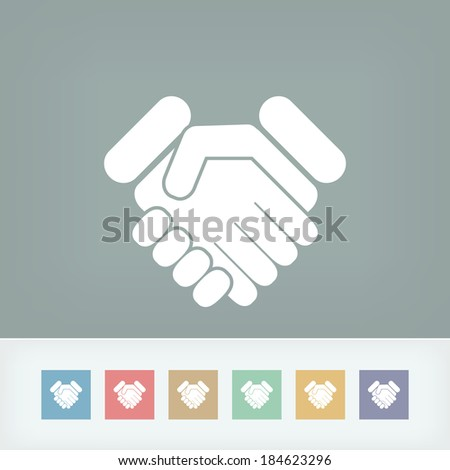 Handshake minimal icon - stock vector