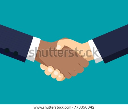 Handshake of business partners. Vector flat style illustration.