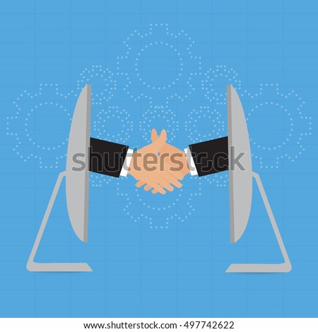 Handshake of businessman for partnership greeting deal cloud online solution concept on clound gears background. Vector illustration e-commerce business concept design.