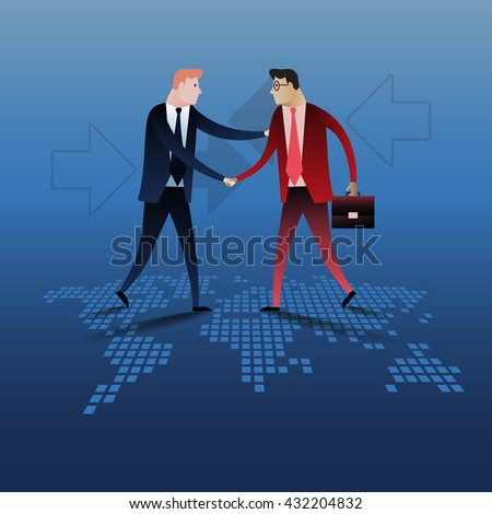 Handshake of two business people with world map background. Business concept illustration vector design - stock vector