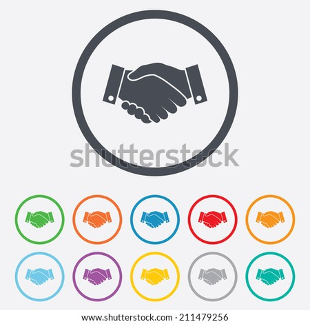Handshake sign icon. Successful business symbol. Round circle buttons with frame. Vector - stock vector