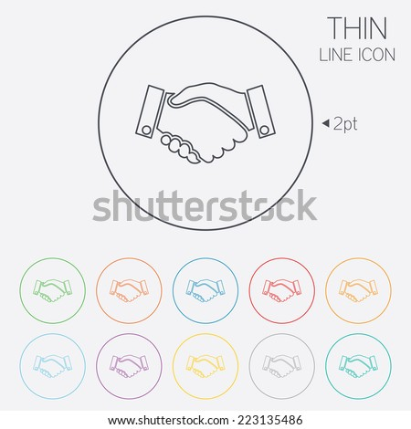 Handshake sign icon. Successful business symbol. Thin line circle web icons with outline. Vector - stock vector