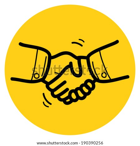 Handshake sketch icon. Simple iconic handshake sketch. - stock vector