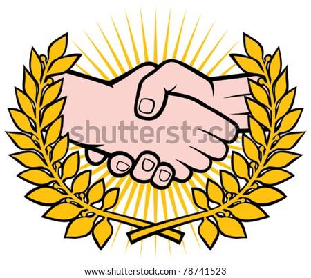handshake symbol (emblem, symbol, sign) - stock vector