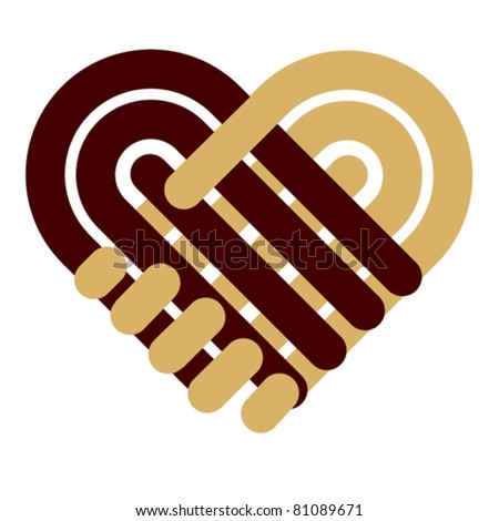 Handshake symbol forming a love heart. Business partnership, together and helping concept. Give icon Isolated on white.