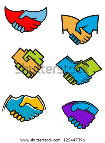 Handshake symbols and icons set for business or another design, such as idea of logo. Jpeg version also available in gallery - stock vector
