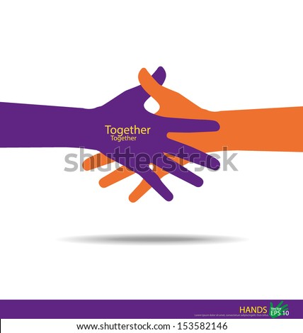 Handshake, Teamwork Hands Logo. Vector illustration. - stock vector