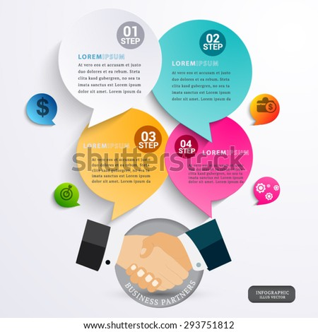 Handshake teamwork partners infographic bubble.Template  vector - stock vector