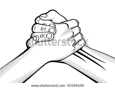 handshake two male hands - stock vector